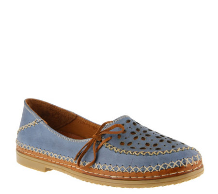 Spring Step Leather Slip-On Shoes - Sideway