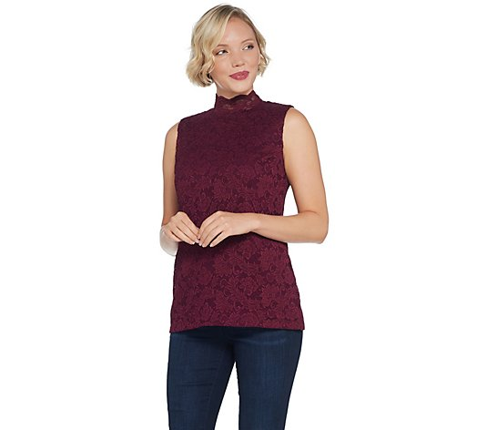 """As Is"" Susan Graver Stretch Lace Mock-Neck Sleeveless Top"