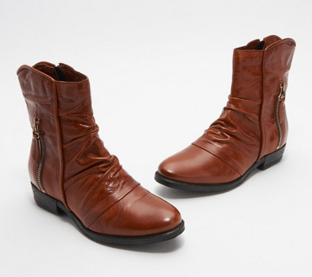 Miz Mooz Leather Ruched Mid Boots - Dawson