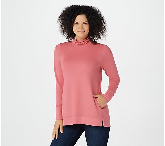 H by Halston French Terry Funnel Neck Long Sleeve Top with Pockets