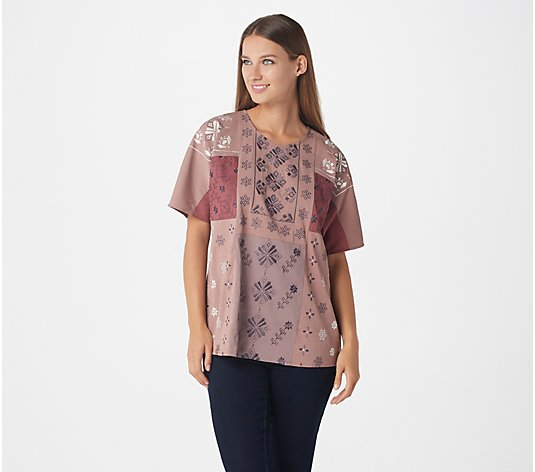 LOGO Lavish by Lori Goldstein Color-Block Embroidered Beaded Blouse