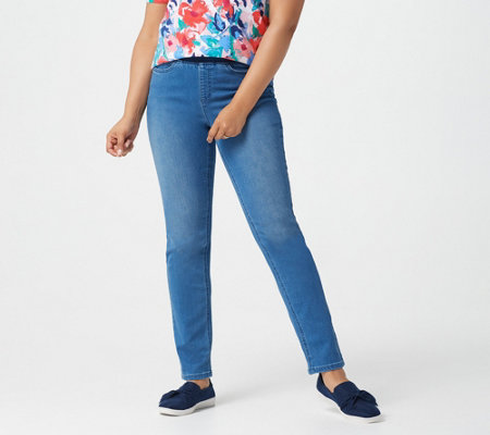 Denim & Co. Pull-On Straight-Leg Pants with Rib Waistband