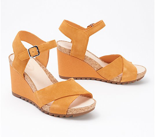 """As Is"" Clarks Leather or Suede Flexible Wedges - Flex-Sun"