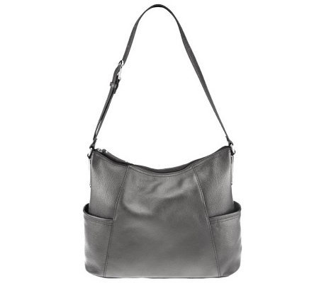 Tignanello Pebble Leather Adjule Hobo Bag With Side Pockets