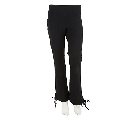 Women with Control Double Pocket Knit Pants with Drawstring Hem