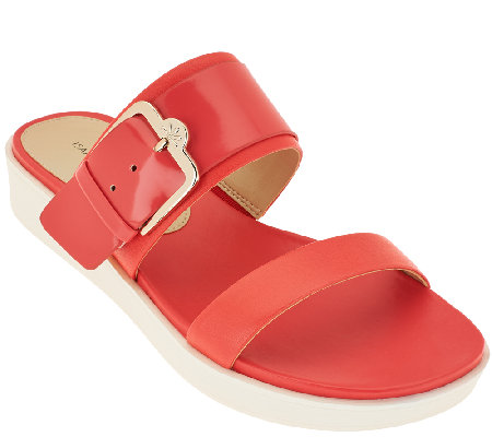 Isaac Mizrahi Live! Two Strap Sandals with Buckle Detail