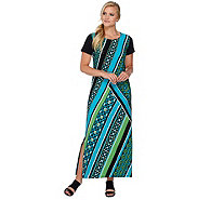 Bob Mackie's Short Sleeve Printed Knit Maxi Dress with Side Slits - A276150