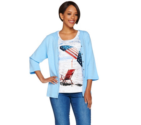 Quacker Factory Printed Beach Scene Cardigan and Tank Twinset