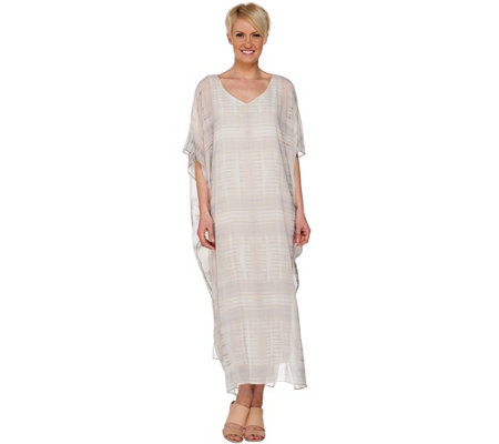 H by Halston Regular Printed Chiffon Maxi Caftan