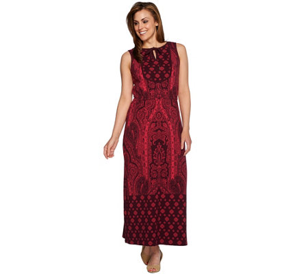 Isaac Mizrahi Live! Petite Engineered Paisley Print Maxi Dress