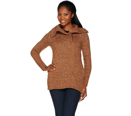 Lisa Rinna Collection Zip Front Sweater with Rib Collar