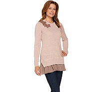 LOGO Lavish by Lori Goldstein Waffle Knit Sweater with Beaded Applique - A282150