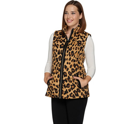 Dennis Basso Water Resistant Quilted Animal Print Vest