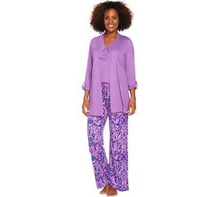 Carole Hochman Watercolor Porcelain 3-Pc Patio Pant Pajama Set