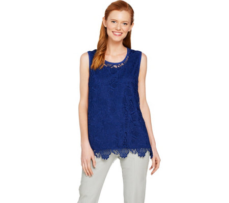 Isaac Mizrahi Live Floral Lace Tank Top With Scallop Hem
