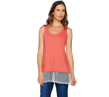 LOGO by Lori Goldstein Slub Tank with Lace Neckline & Swiss Dot Hem