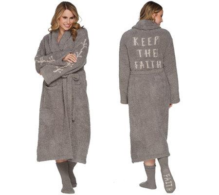 Barefoot Dreams Cozychic Inspiration Robe with Socks — QVC.com 8b7a958d6