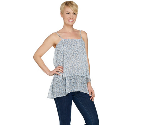 """As Is"" LOGO by Lori Goldstein Printed Chiffon Tiered Camisole"