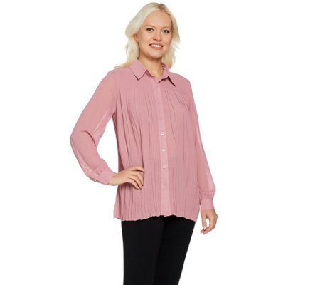 """As Is"" Joan Rivers Pleated Blouse with Long Sleeves"