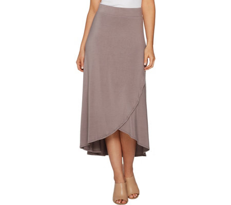 """As Is"" LOGO by Lori Goldstein Tulip Hem Modal Knit Maxi Skirt"