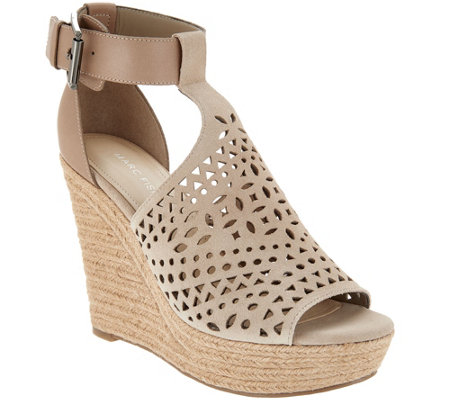 Marc Fisher Perforated Suede Wedges Hasina