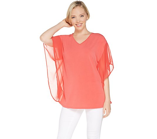 Joan Rivers V-Neck Caftan Blouse with Flowy Sleeves