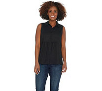 Joan Rivers Sleeveless Bib Front Blouse with Gathered Detail - A304650