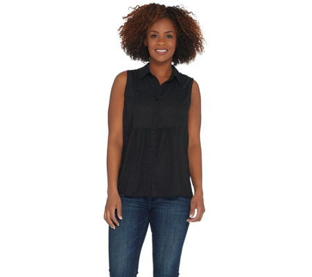 Joan Rivers Sleeveless Bib Front Blouse with Gathered Detail