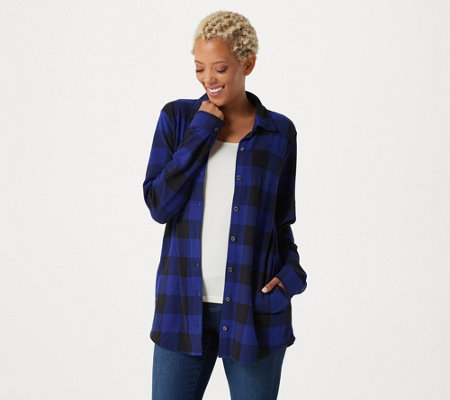 """As Is"" Denim & Co. Heavenly Jersey Buffalo Plaid Button Front Tunic Top"