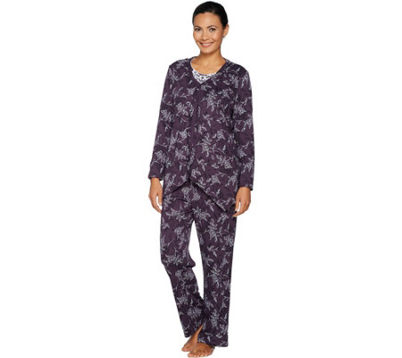 """As Is"" Carole Hochman Interlock Etched Floral 3-Pc Pajama Set"
