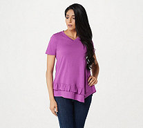 LOGO by Lori Goldstein Cotton Slub V-Neck Top w/ Ruffle Hem - A307250