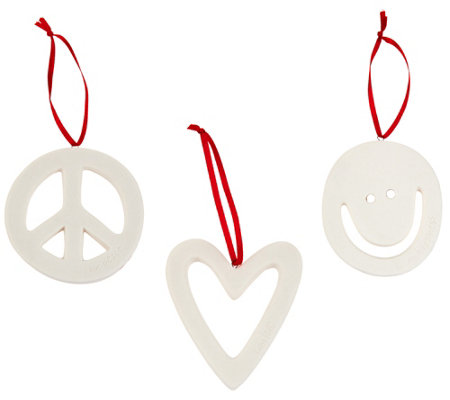"""As Is"" Peace Love World Signature Symbol Ornaments"