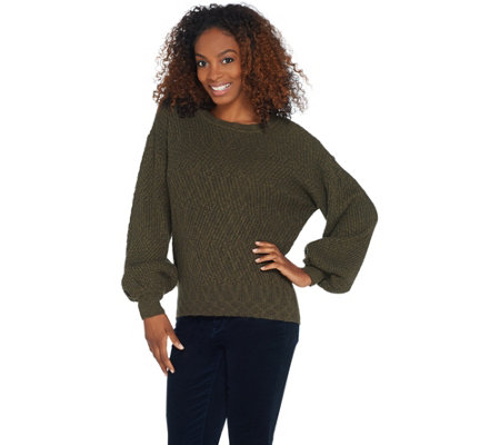 Vince Camuto Long-Sleeve Novelty Texture Stitch Sweater