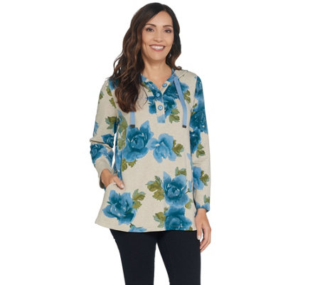 Susan Graver Weekend Printed French Terry Hooded Tunic