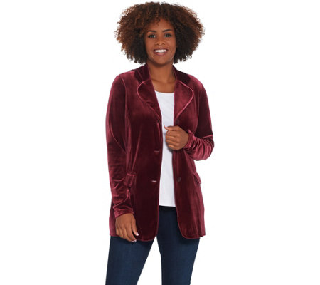 Susan Graver Stretch Velvet Notch-Collar Button Front Blazer