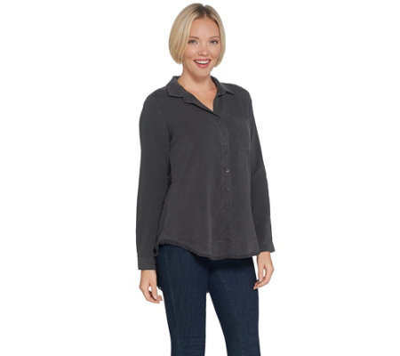 Side Stitch Button Front Frayed Curved Hem Top with Front Pocket