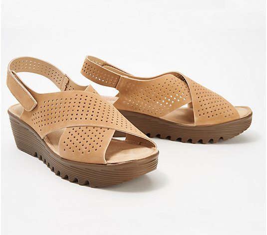 Skechers Perforated Suede Slingback Demi-Wedges