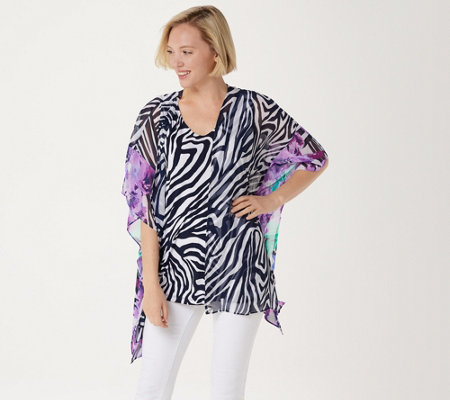 Dennis Basso Open-Front Caftan with Caviar Crepe Sleeveless Top