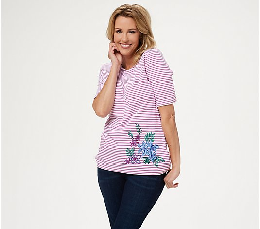 Denim & Co. Striped Round-Neck Top with Embroidery