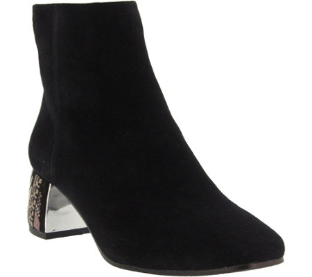 Azura by Spring Step Suede Ankle Booties - Pizzazz