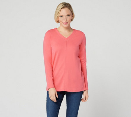 """As Is"" Quacker Factory Essentials Long Sleeve V-Neck Knit Tunic"