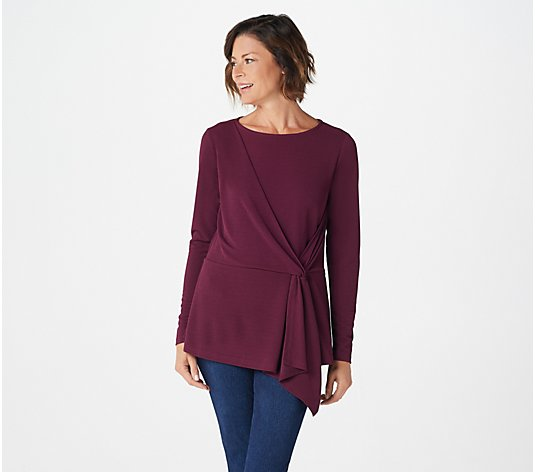 Belle by Kim Gravel Twist Waist Asymmetrical Knit Top