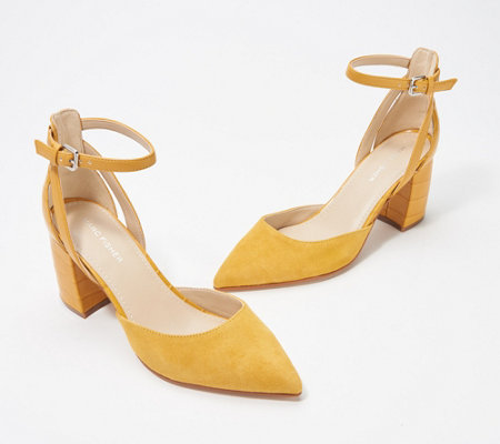 Marc Fisher Pointed Toe Pumps w/ Ankle Straps - Raie