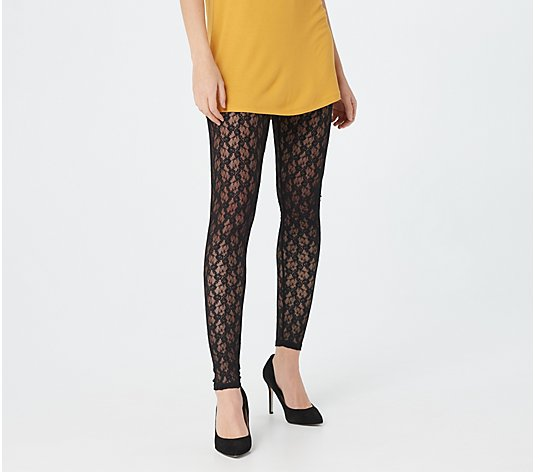 LOGO by Lori Goldstein Sheer Lace Pull-On Legging