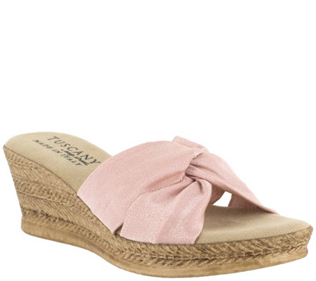 Tuscany by Easy Street Twist Fabric Wedge Sandals - Dinah