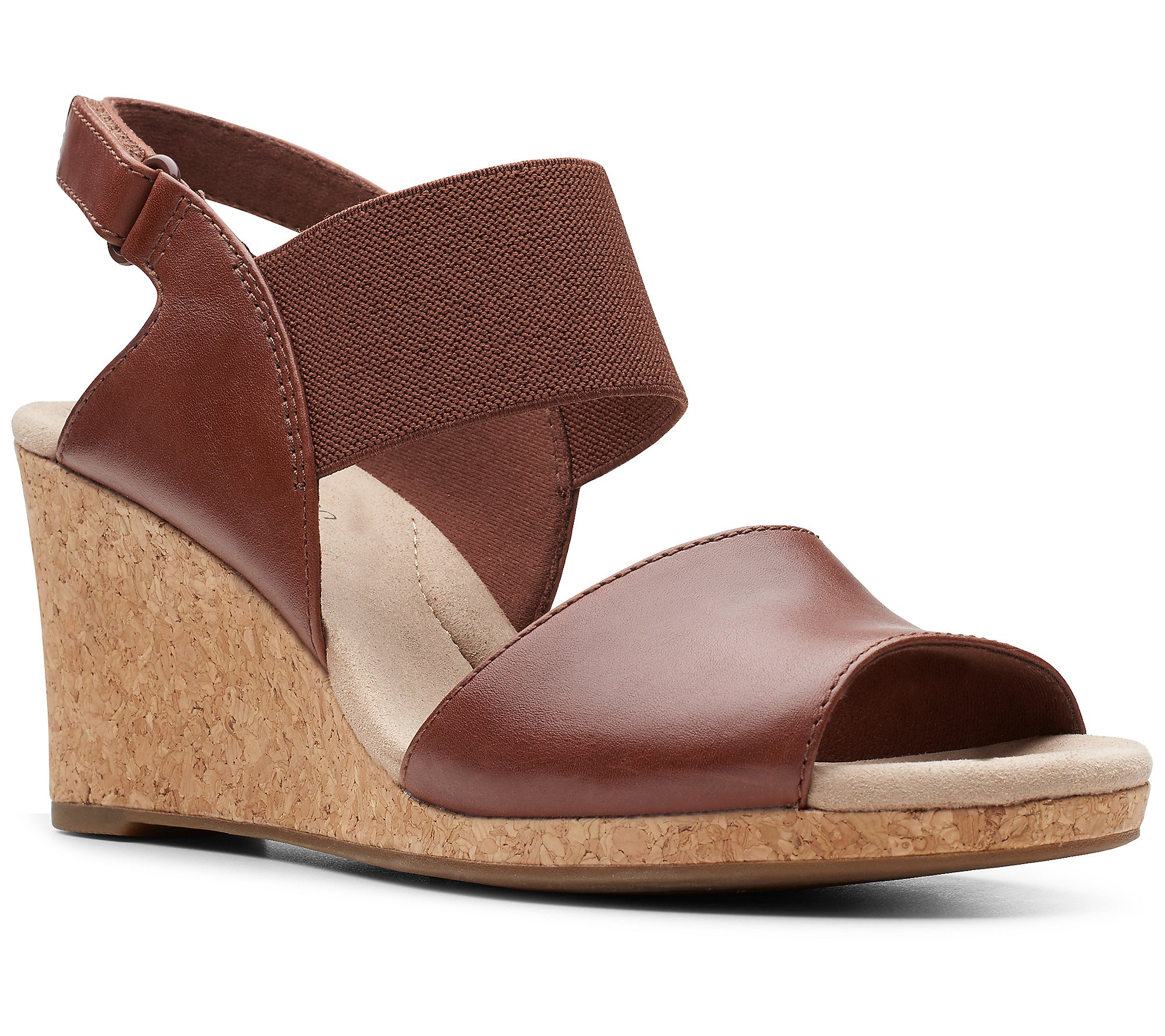 Clarks Womens Lafley Lily Brown Leather Wedge Sandals