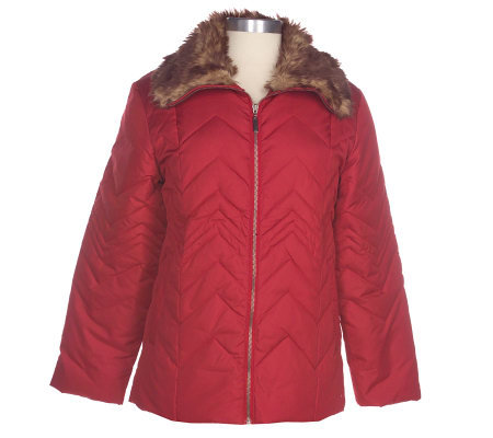 8bec29c6c14f7 Centigrade Down   Feather Zig Zag Jacket with Adjustable Faux Fur Collar