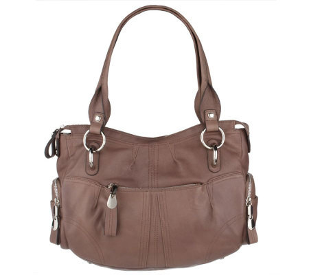 B Makowsky Glove Leather Zip Top Tote Bag With Sch Detail