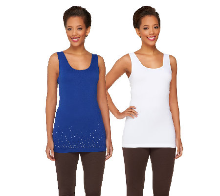 9f6041f552081 skinnytees Solid   Sparkle Seamless Tank Set - Page 1 — QVC.com