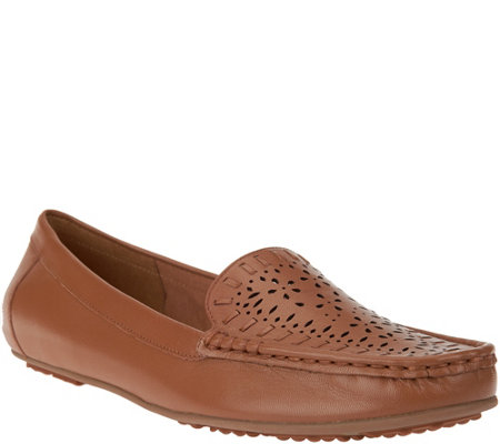 Isaac Mizrahi Live! Perforated Leather Moccasins